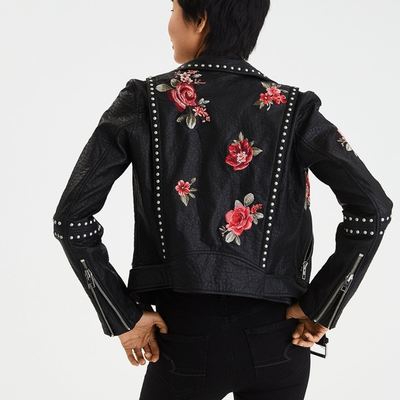 7b6a4cc9a AE Floral Embroidered Faux Leather Moto Jacket NWT